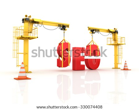Cranes building the SEO Word - High Quality 3D Render - stock photo