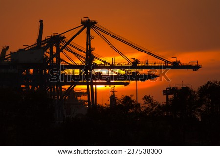Cranes in port The sunset - stock photo