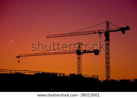 cranes in the construction site in sunset