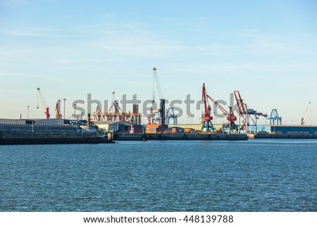 Cranes in the sea port in Portugalete, Nothern Spain. Industrial overview