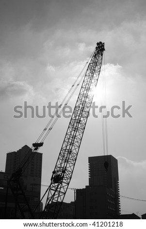 Cranes on a construction site in Shanghai.