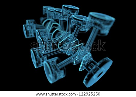 Crankshaft (3D xray blue transparent) - stock photo