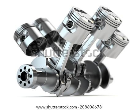 Crankshaft V6 engine isolated on white background - stock photo