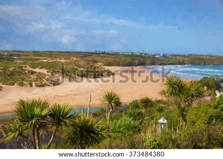 Crantock bay and beach North Cornwall in autumn England UK near Newquay with waves illustration like oil painting and palm trees in foreground