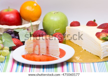crape cake and freshness strawberry