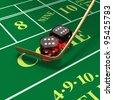 Craps dice roll called any craps, hi-lo, boxcars, midnight with stickman's mop or whip on green felt table - stock photo