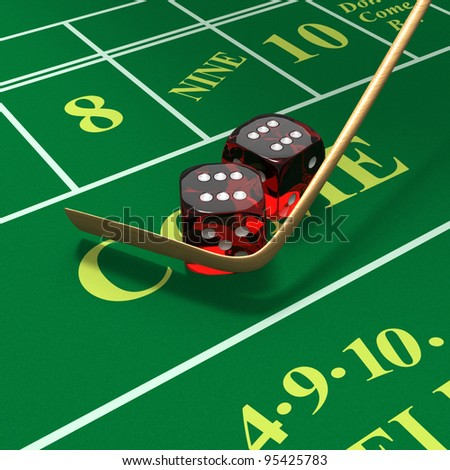 Craps dice roll called any craps, hi-lo, boxcars, midnight with stickman's mop or whip on green felt table