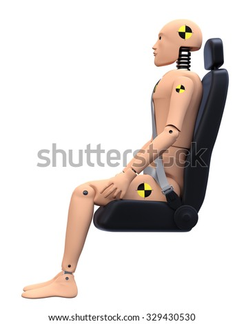 Crash Test Dummy in Car Seat. Side View. Safety Concept - stock photo