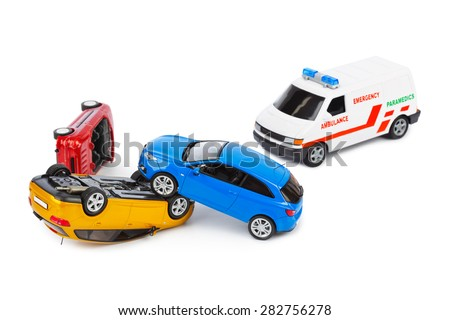 Crash toy cars and ambulance car isolated on white background - stock photo