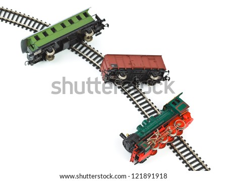 Crash toy train isolated on white background - stock photo