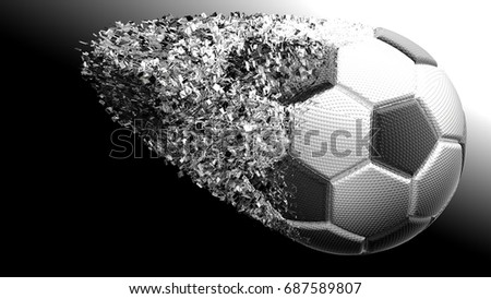 Crashed Black and Silver Metallic Soccer Ball. 3D illustration. 3D high quality rendering.