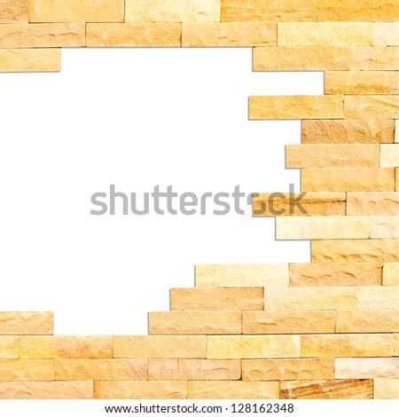 Crashed brick wall texture abstract for background with clipping path - stock photo
