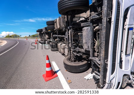 crashed truck - stock photo