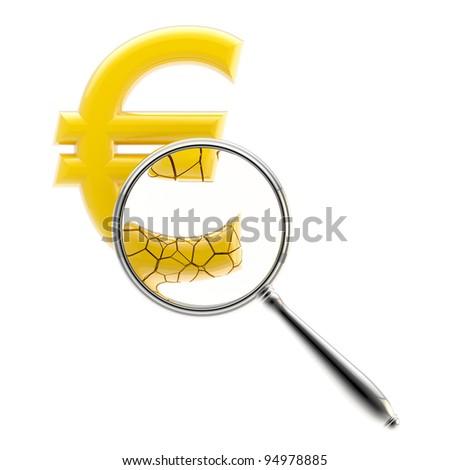 Crashing euro sign under the magnifier isolated on white - stock photo