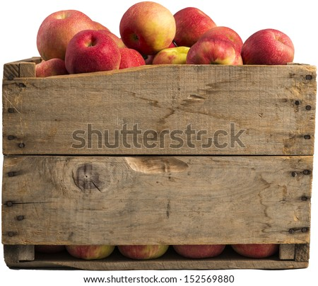 crate full of apples isolated on white background. - stock photo