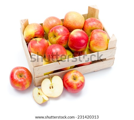 Crate of fresh ripe red apples