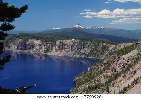 Crater Lake and Mountains in the Background