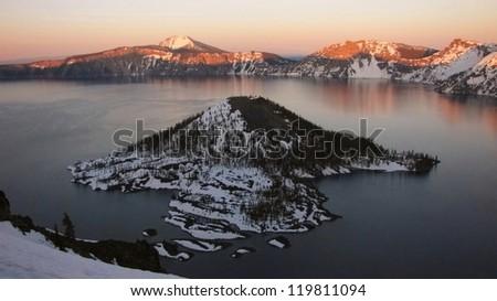 Crater Lake at dusk - stock photo