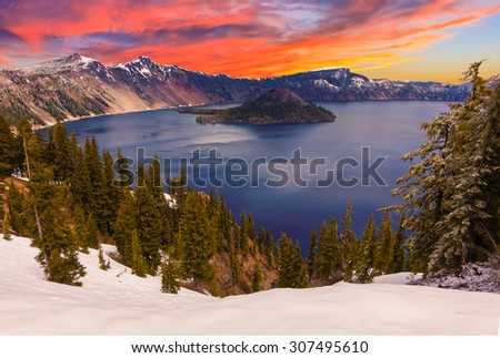 Crater Lake image taken at Sunset - stock photo