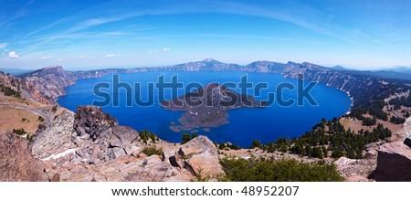 Crater Lake 45 megapixel panorama, Crater Lake National Park, Oregon, United States - stock photo