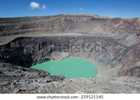 crater lake on Santa Ana volcano in El Salvador - stock photo