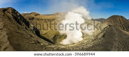 Crater of Bromo volcano, East Java, Indonesia - stock photo