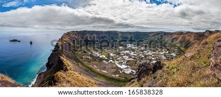 Crater of Rano Kau, Easter Island, Chile - stock photo