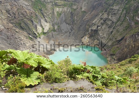 Crater of the Irazu active volcano situated in the Cordillera Central close to the city of Cartago, Costa Rica. - stock photo
