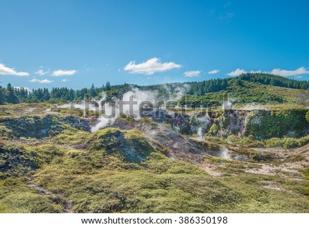 Craters of the moon - active geothermal field in Taupo, New Zealand - stock photo