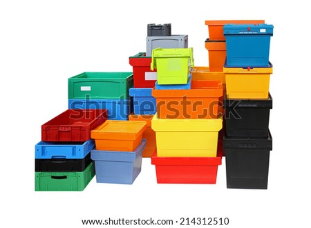 Crates and boxes for delivery shipping isolated included clipping path - stock photo