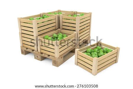 Crates full of apples on wooden palette isolated on white with clipping path - stock photo
