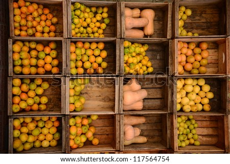 Crates of apples from Uruguay - stock photo