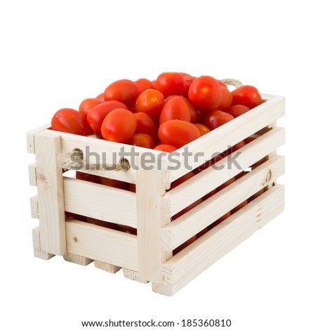 Crates of tomatoes in a white background - stock photo