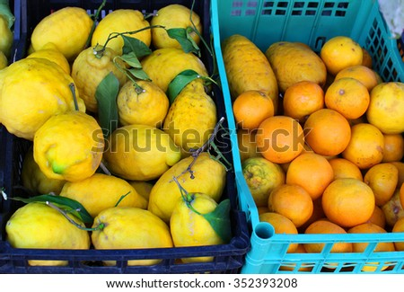 Crates with big lemons and small oranges in an outdoors stand grown  in the Amalfi Coast of Italy - stock photo