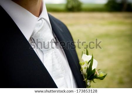 cravat with a man's suit - stock photo