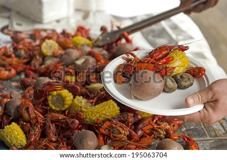 Crawfish boil or feed outside a restaurant in a northwest city - stock photo