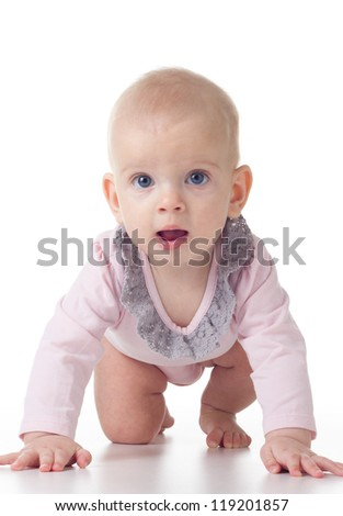 crawling baby girl on white background