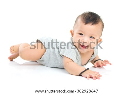 crawling beautiful baby boy