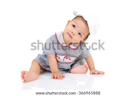 crawling beautiful baby girl - stock photo