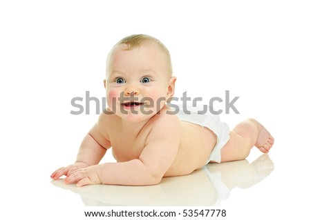 crawling on all fours six month baby on white
