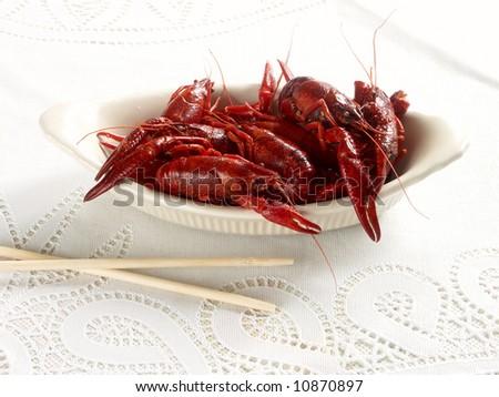 crayfish on the white - stock photo
