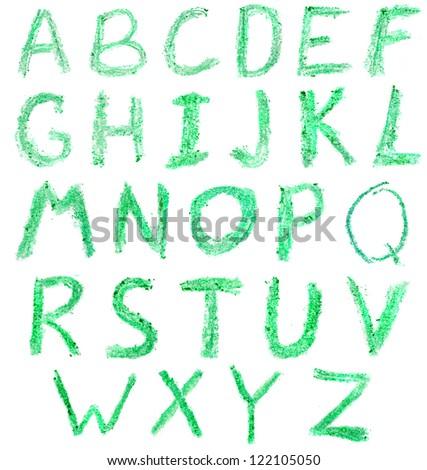 Crayon alphabet green - stock photo