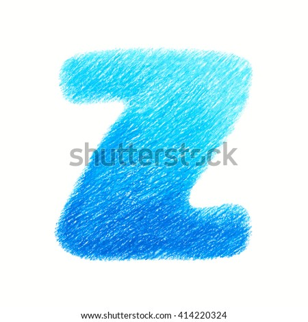 Crayon alphabet isolated on white background. Letter Z. Hand drawn illustration.