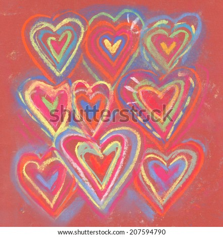 Crayon and pastel grunge abstract valentine hearts. Colorful chalk hearts symbol on red paper. Repeatedly circled shape of heart. Multicolor hand drawn sketch. Love pattern. - stock photo