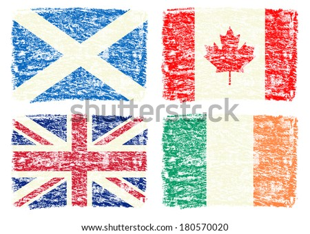 Crayon draw flag of Canada, UK, Scotland, Ireland