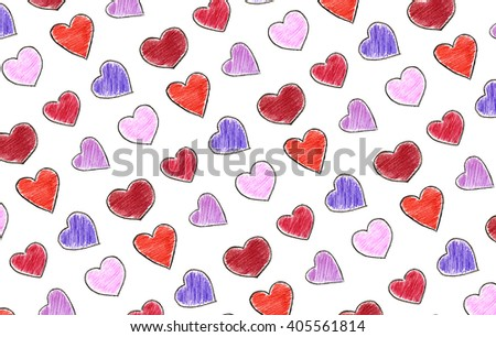 Crayon hearts - stock photo