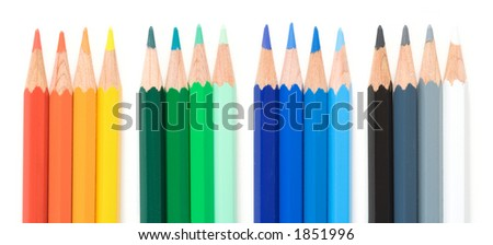 Crayons close-up isolated over a white background