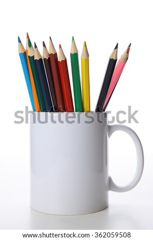 crayons in a cup - stock photo