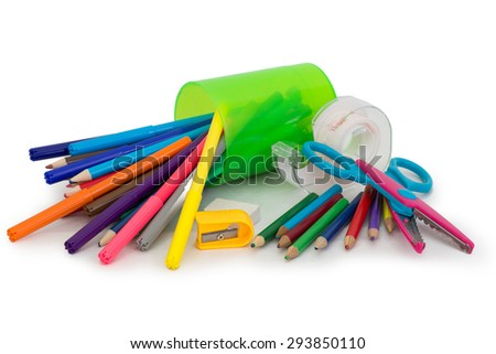 crayons, markers - stock photo