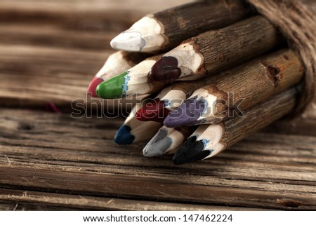 crayons on desk  - stock photo